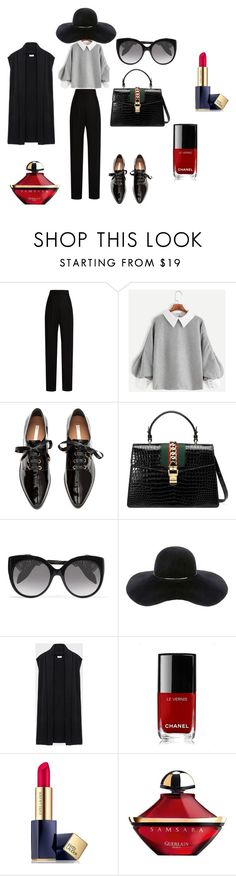 """#business"" by seldy-enes ❤ liked on Polyvore featuring Lanvin, H&M, Gucci, Alexander McQueen, Eugenia Kim, DKNY, Chanel, Estée Lauder and Guerlain"