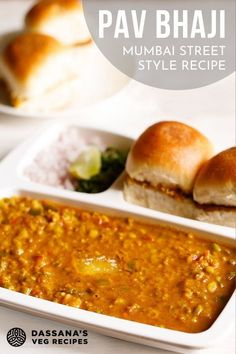 Is Indian street food calling your name? This Mumbai vegetarian favorite is made with spiced, mashed veggies in an onion-tomato gravy and served with pav which is a bread roll. Mumbai Street Food, Indian Street Food, Vegetarian Curry, Vegetarian Recipes, Curry Recipes, Vegetable Recipes, Cooking Dishes, Cooking Recipes, Bhaji Recipe
