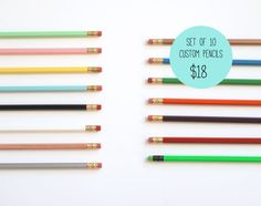 Custom Pencils - Set of 10 Pencils - Personalized Gift - Stocking Stuffer - Gifts Under 20 - Choose Your Color and Wording