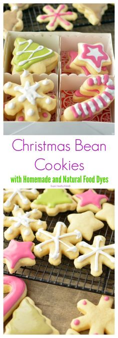 Christmas Bean Cookies with Homemade and Natural Food Dyes. These Christmas cookies are festive and delicious! http://www.superhealthykids.com/christmas-bean-cookies-with-natural-food-dyes/