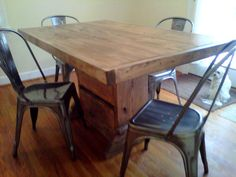 5 foot reclaimed wood table with benches by ModernRust on Etsy, $529.00