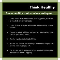 Think healthy! #healthywheneatingout #thinkhealthy #makegoodchoices #eating #out #fresh #lean #cleanfood #vegetables #steamed #boiled #grilled #footfacts