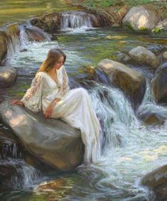 """""""A spring shut up, a fountain sealed."""" --Song of Solomon Woman Painting, Figure Painting, Renaissance Art, Aesthetic Art, Beautiful Paintings, Figurative Art, Oeuvre D'art, Female Art, Les Oeuvres"""