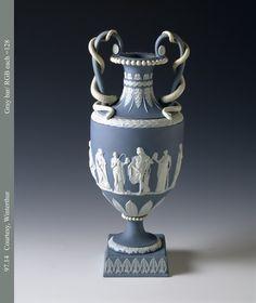 1997.0014 Flower container, vase, or urn Wedgewood stoneware (jasperware) 1790-1800 Erturia, Staffordshire