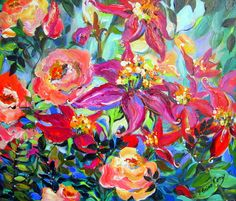 Original Painting Flower Garden 20 x 24 Art by by ElainesHeartsong