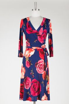 Royal Blue / Red Floral Knee Length Dress