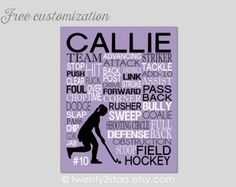 Girl's field hockey name art in purple & black. Customize with any name and colors  you want. Great field hockey coach or team gift.