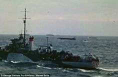 Might: British warships escort their landing craft to the three beaches they and the Canadians were earmarked to invade - Sword, Juno and Gold