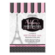 Sweet 16 Parisian Cafe Invitation #sweet16 #sweetsixteen #paris #cafe #invitations