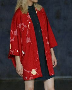 Vintage Kimono Haori Jacket, Shibori Flowers | Kiriko Made