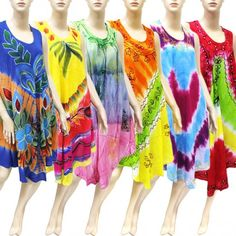 Embroidered Tie Dye Dress Best Seller Set B (6 Pcs)