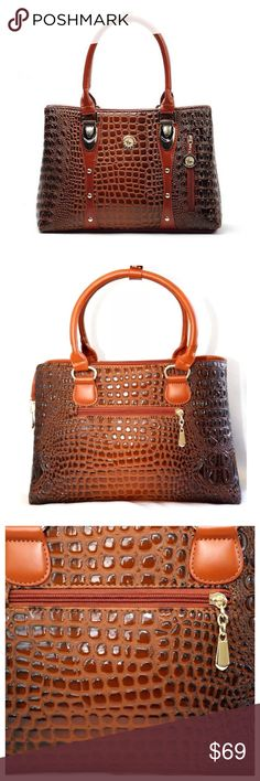 """🆕The Belinda Crocodile Embossed Vegan Leather Bag ‼️ PRICE FIRM ‼️ 10% DISCOUNT ON 2 OR MORE ITEMS FROM MY CLOSET ‼️   The Belinda Bag Retail $99  Love this bag.  Vegan leather. Crocodile embossed. Bag measures 9 1/2"""" high, 13.5"""" long, & 4 1/4"""" deep. Has a detachable, adjustable shoulder strap. Bags"""