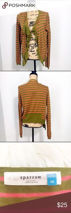 Anthropologie Sparrow Traveling Stripes Cardigan Olive and pink / coral striped open Cardigan. Lightweight linen blend. Ruffle front. Great condition. Anthropologie Sweaters Cardigans