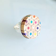 Quirky Round Handmade Colouring Pencil Ring Artist Teacher Gift. £15.00, via Etsy.