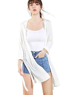 Bemorewithless Women's Long Sleeve Open Front Thin Knit Lightweight Drape Soft Cardigan Sweater Tops