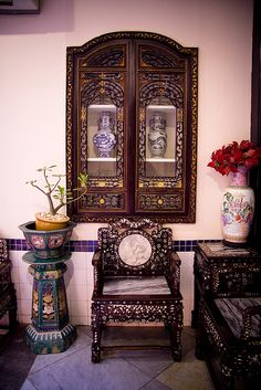 Beautiful inlaid peranakan furniture. Mother of pearl. Singapore.   THE LIBYAN Esther Kofod www.estherkofod.com