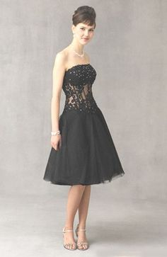 Knee-length Tulle Black A-line Cocktail Dresses - Special Occasion Dresses