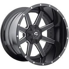 20x12 Black Fuel Maverick 8x180 -44 Rims Ridge Grappler 37 Tires