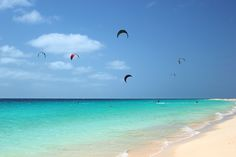 Kite surfing at Santa Maria on the island of Sal. Photograph by Heidi Page