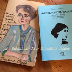 Image of Hand painted Moleskine Cahier - Virginia Woolf portrait