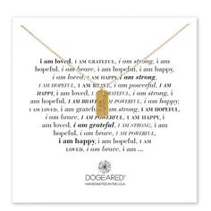 i am grateful small dog tag necklace, gold dipped, 18 inch - Dogeared