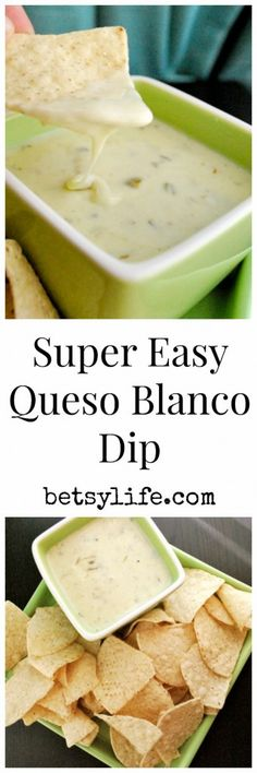 Game season! This Super Easy Queso Blanco Dip recipe is going to be the best appetizer on your table.