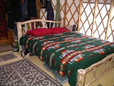 Handmade bed, yurt interior. Yurt Interior, Bed Ideas, Comforters, Mountain, Blanket, Handmade, Furniture, Home Decor, Creature Comforts