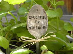 Items similar to A spoonful of strength garden marker hand stamped - spoonie - invisible illness - chronic pain - rustic silver spoon - inspirational quote on Etsy Chronic Fatigue Syndrome Diet, Chronic Fatigue Symptoms, Chronic Illness, Chronic Pain, Plant Markers, Garden Markers, Migraine, Spoon Theory, Psoriatic Arthritis