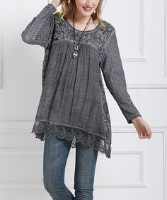 Look what I found on #zulily! Gray Embroidered-Accent Tunic - Plus #zulilyfinds