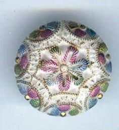 Old Victorian White Milk Glass Button with Pastel Paint