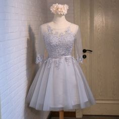 Baby Blue Lace Tulle Long Sleeves Homecoming Dresses,Back O Short Homecoming Dress Prom Gowns With Lace Up,Cheap Cocktail Dresses Party Gown Long Sleeve Homecoming Dresses, Dresses Short, Women's Dresses, Formal Dresses, Mini Dresses, Tulle Bridesmaid Dress, Tulle Dress, Satin Tulle, Cheap Cocktail Dresses