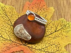 Beautiful Amber sterling silver beaded ring, size M