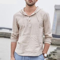 Men's Linen Hooded T-Shirts Long Sleeve Striped Pockets Regular Fit Pullovers Cotton Breathable Classic Hiphop Tees Male Tops - Mathilda Spring Shirts, Henley Shirts, Mens Tees, Mens Linen Shirts, Cotton Shirts For Men, Casual T Shirts, Casual Clothes, Hooded Sweatshirts, Long Sleeve Shirts