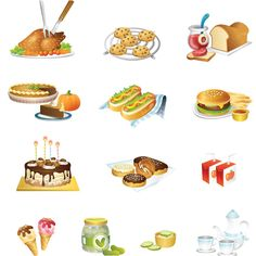 Food vector. Set of 16 different vector food illustrations and design elements (vector fried chicken, cookies, bread with jam, pie, hot dog, hamburger, cake, donuts, juice pack, ice cream, a jar of cucumbers, chips, tea set). Format: Ai, Tif stock…