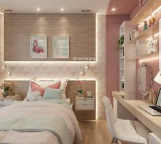 Teen girl bedrooms, check this trick for one surprising sweet teen girl room styling, make-over number 8766011566 Cute Bedroom Ideas, Girl Bedroom Designs, Awesome Bedrooms, Bedroom Themes, Bedroom Decor, Small Room Bedroom, Small Rooms, Girls Bedroom, Teen Bedroom Colors