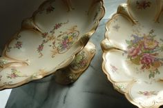 "Antique, Edwardian ""Crown Ducal"" 13.5"" hand painted cake stand & 5.5"" cake plate"
