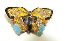 Enameled Butterfly Sachet Pin w/ Rhinestones circa Late 1800s