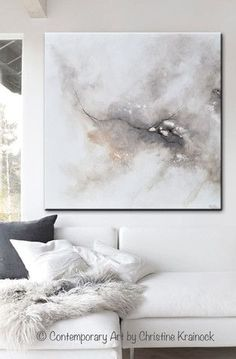 "ORIGINAL Art Abstract Grey White Painting ""Introspective"" Original Abstract Painting. Modern, Large Art, Wall Art, Coastal, Home Decor. textured, palette knife, fine art with neutral earthy shades of grey, taupe, beige, black & white. which come together exhibiting a marbleized organic feel. Home decor, white living room. Mixed media acrylic on a36x36"" canvas. Beautiful organic, effect. Coastal Contemporary Modern Neutral Grey Taupe Wall Art - Contemporary Artist, Christine Krainock…"