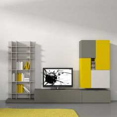 Delightful Modern Furniture Contemporary Italian Design With Gray Bookshelves Also Tv Unit And Unique Gray Yellow Rack Cabinet Along Gray Floor And Yellow Fur Rug With Modern Furniture Miami And Affordable Modern Furniture Marvellous Design For Modern Italian Furniture