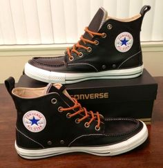 """CONVERSE CHUCK TAYLOR ALL STAR BLACK """"LEATHER HI CLASSIC BOOT"""""""