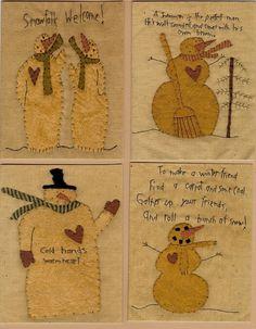 Snowman Stitchery Patterns Wool Applique by stitchintimepatterns, $14.00