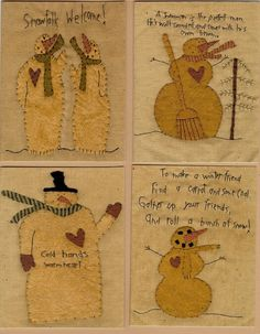 Snowman Stitchery Patterns Wool Applique by stitchintimepatterns