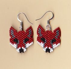 Beaded Red Fox Earrings | NativeWorksJewelry.com