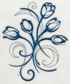 Inky Tulips Embroidered Decorative Absorbent by EmbroideredbySue