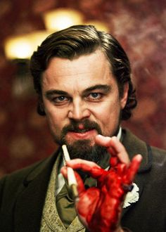 "Leonardo DiCaprio in ""Django Unchained"" (Quentin Tarantino, 2012) Seriously cut his hand on a glass and finished the scene..."