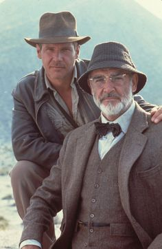 Harrison Ford and Sean Connery for Indiana Jones and the Last Crusade,a 1989 American fantasy-adventure film directed by Steven Spielberg, from a story co-written by executive producer George Lucas.