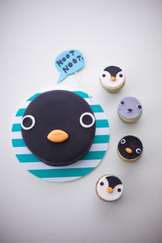 noot noot - pingu cake and matching cupcakes by coco cake land