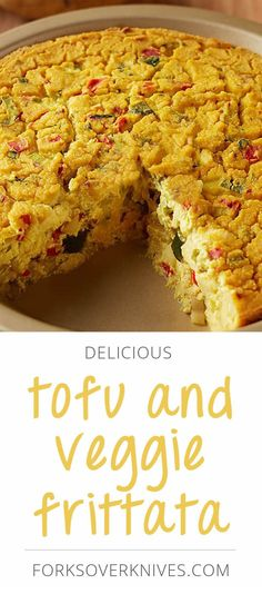 Tofu and Veggie Frittata Aquafaba is often used in vegan baked goods as an egg substitute. It's great in recipes that need a little fluff, like this tofu and veggie frittata. Baked Lunch Recipes, Tofu Recipes, Vegan Breakfast Recipes, Whole Food Recipes, Brunch Recipes, Delicious Recipes, Vegetarian Recipes, Recipies, Veggie Frittata