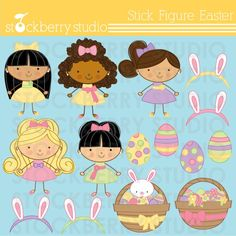 Stick Figure Easter Personal and Commerical por stockberrystudio