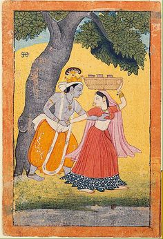 San Diego Museum of Art - Krishna accosts Radha under a tree Krishna Painting, Krishna Art, Radhe Krishna, Pichwai Paintings, Indian Art Paintings, Ancient Indian Art, Indian Folk Art, India Painting, Silk Painting